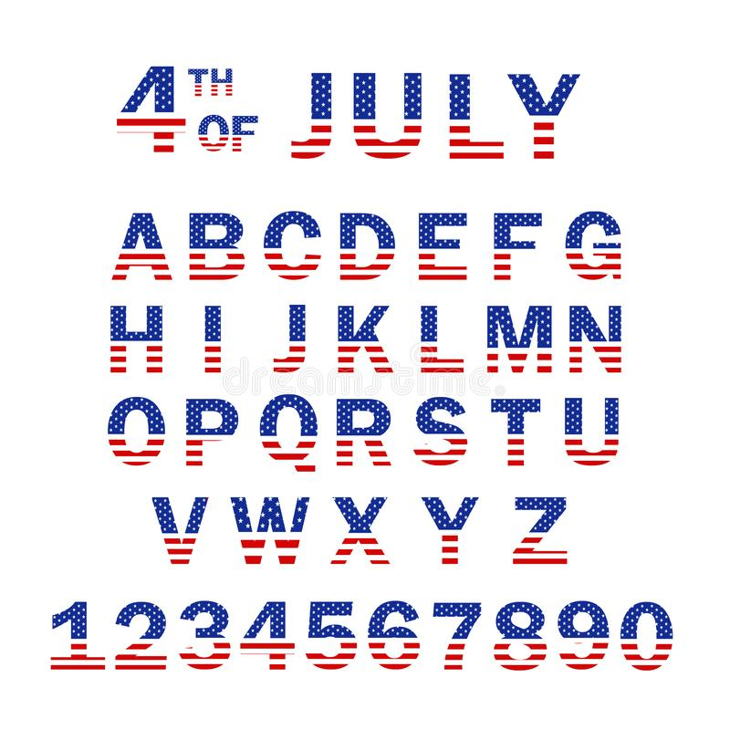 USA Flag Alphabet and Numbers. 4th of July USA flag style font design. USA Flag Font template. Font USA Flag Stars Set vector illustration