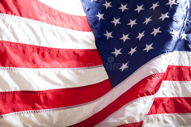 USA flag. American flag. American flag blowing wind. stock photos