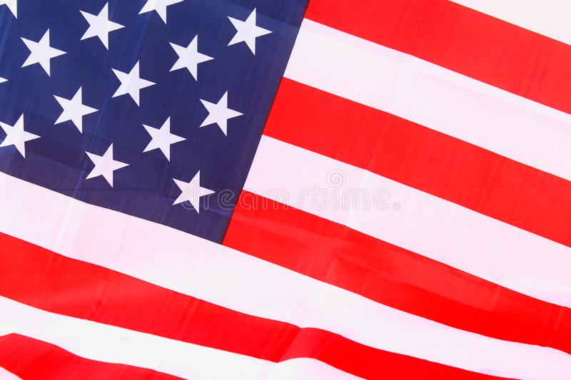 USA flag. American flag. American flag blowing wind. Close-up. Studio shot. stock photography
