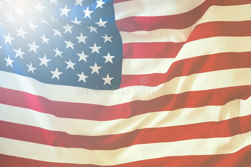 USA flag. American flag blowing wind. Close-up. Studio shot. royalty free stock photo