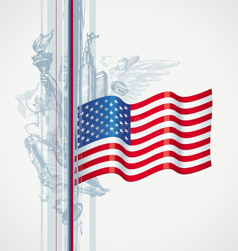 Download USA Flag And American Symbol Stock Vector - Image: 13183262