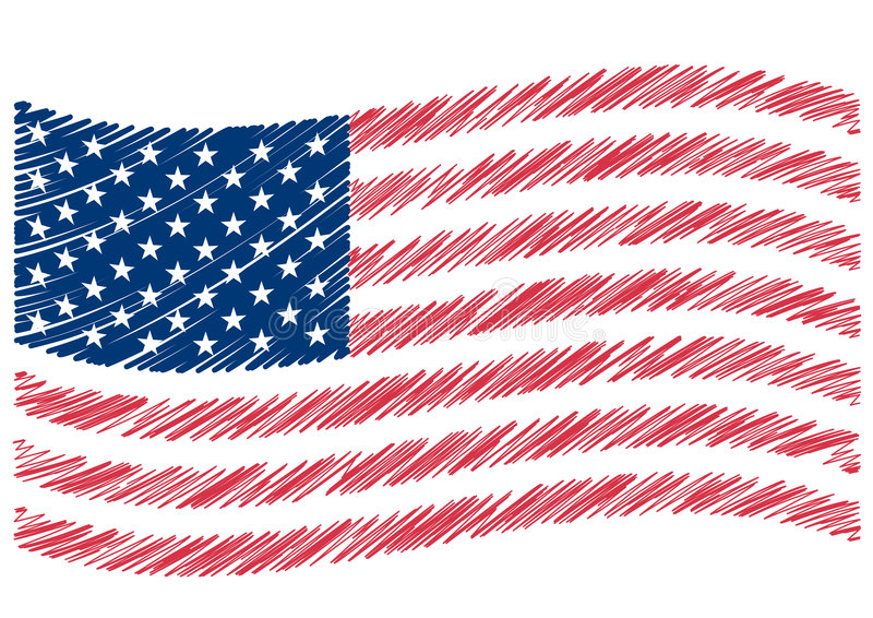 USA flag art royalty free illustration