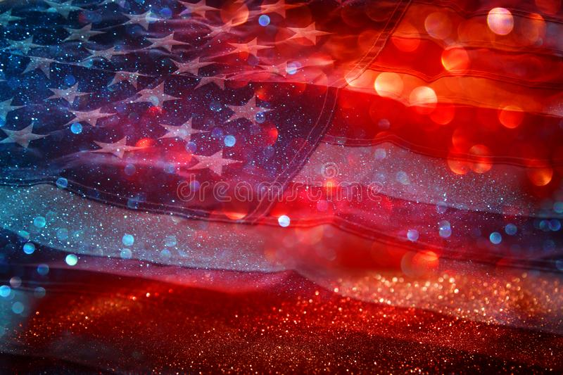 American Flag And Bokeh Background With Copy Space For American