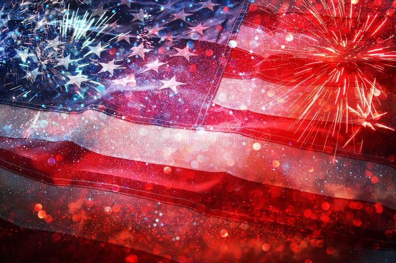 American flag and bokeh background with copy space for american celebration. USA flag asphalt texture background stock image