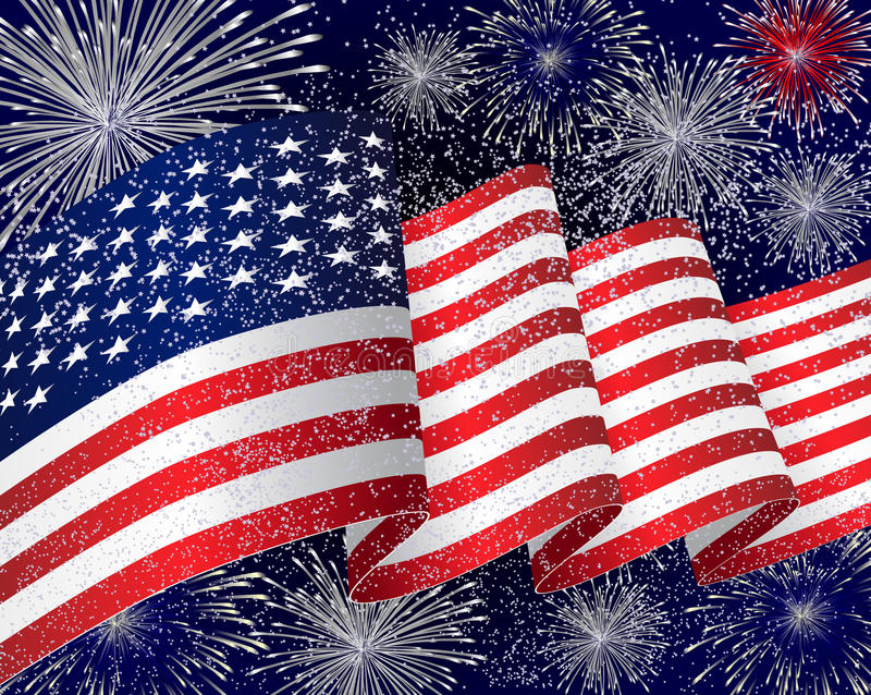 Download USA Flag Background With Fireworks Royalty Free Stock Images - Image: 27552509