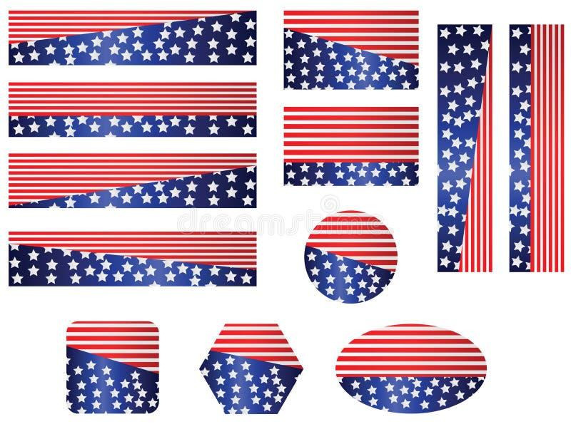 USA flag banner set stock illustration