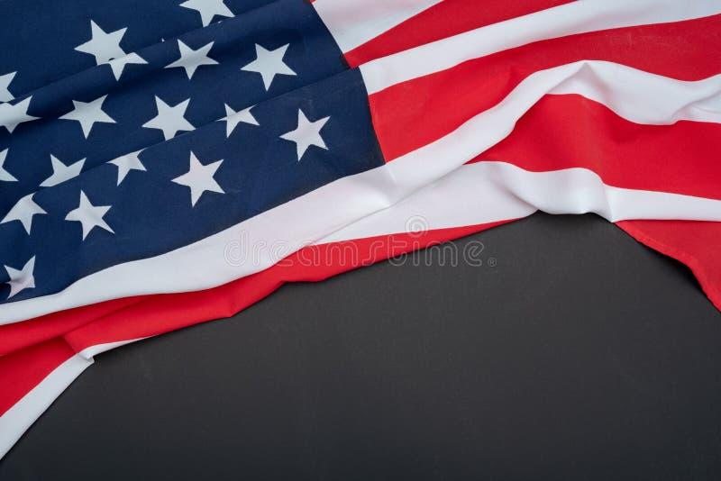 USA flag on black background stock photo