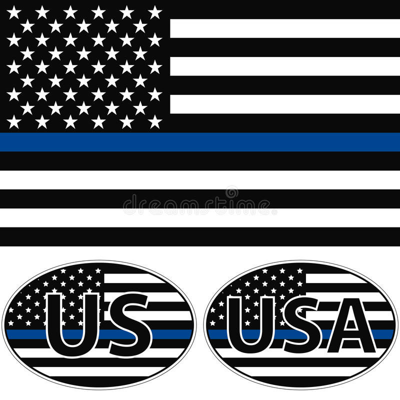 USA flag blue stripe. An American flag symbolic of support for law enforcement, USA flag with a blue stripe center, sticker vector royalty free illustration
