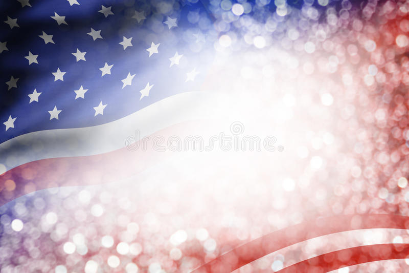 USA flag and bokeh background with copy space royalty free stock photography