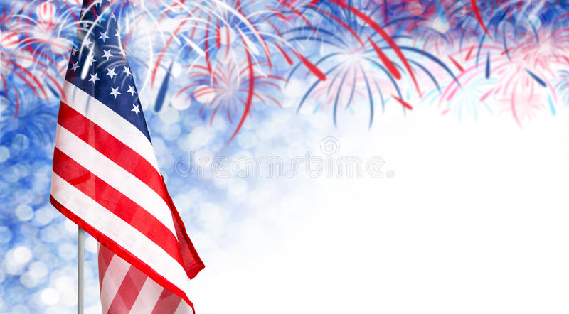 USA flag and bokeh background with firework and copy space. For 4 july independence day and other celebration stock image