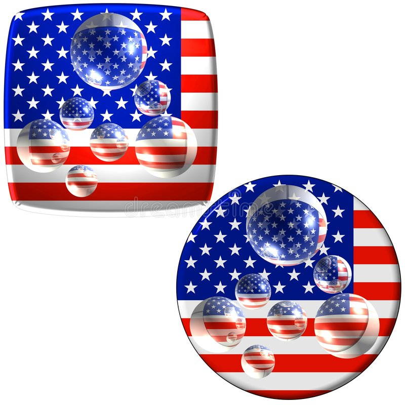 USA Flag Buttons With Water Royalty Free Stock Photos