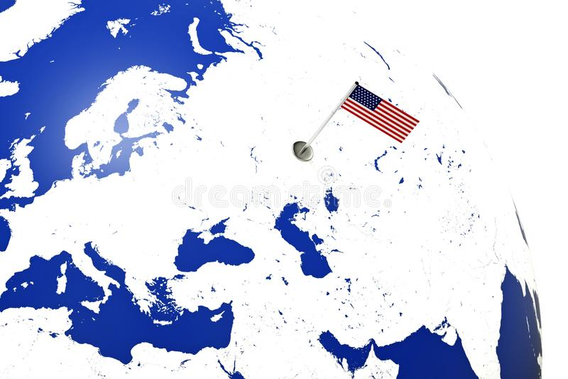USA flag. Country flag with chrome flagpole on the world map. 3d illustration rendering flag vector illustration