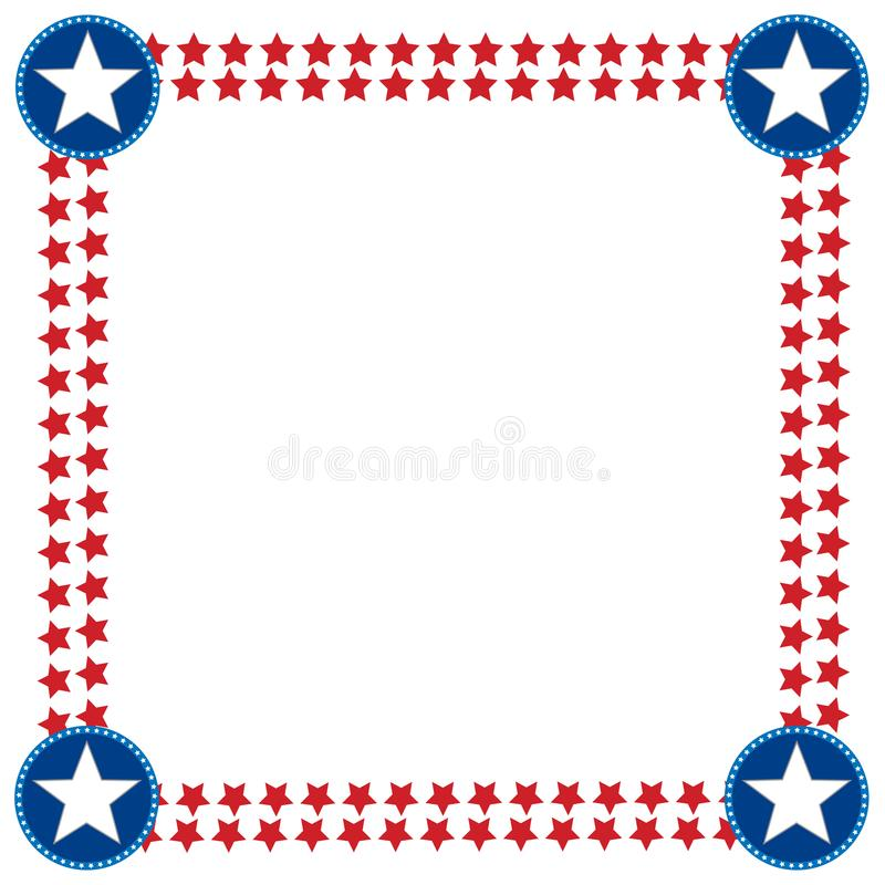 USA flag stars decoration frame border. royalty free stock image