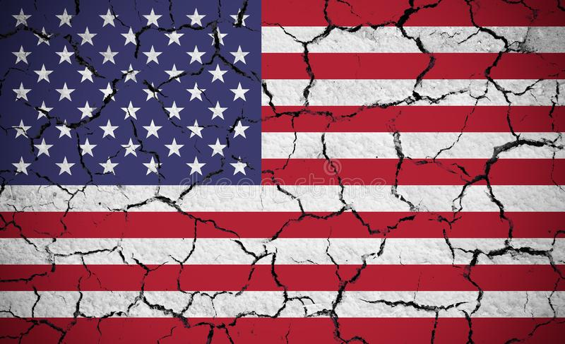 USA flag on dry cracked earth textured royalty free stock photo