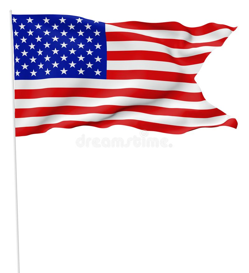 USA flag with flagpole with angle. National flag of United States of America with stars and stripes with flagpole with angle flying and waving in wind isolated royalty free illustration