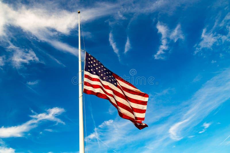 USA Flag Flying at Half-Mast. USA Flag Flying at half-staff royalty free stock images