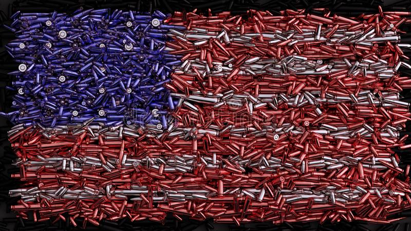 USA Flag formed out of bullets stock illustration