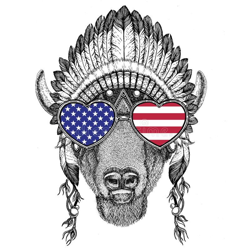 Free USA Flag Glasses Buffalo, Bison,ox, Bull Wild Animal Wearing Indian Hat Stock Image - 100180961