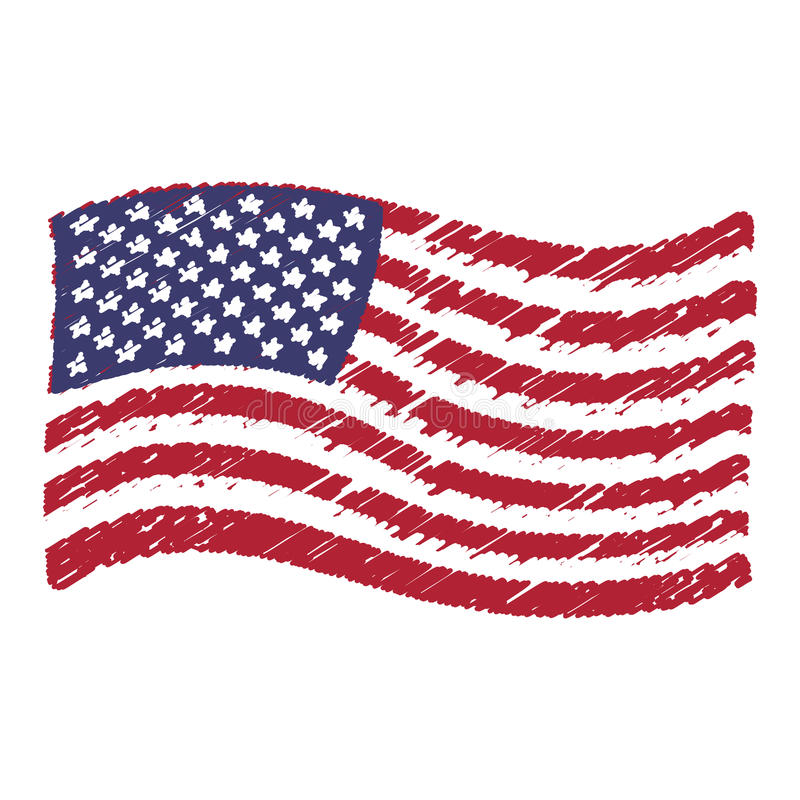 USA flag grunge pencil drawing sketching. Isolated vector illustration stock illustration