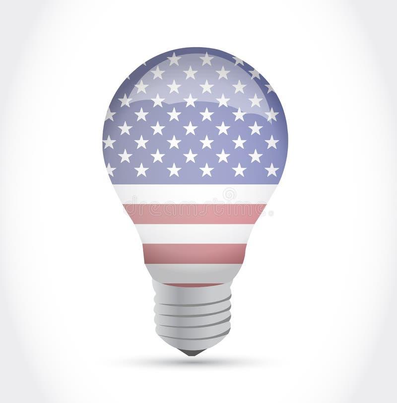 Usa flag idea light bulb illustration design royalty free illustration