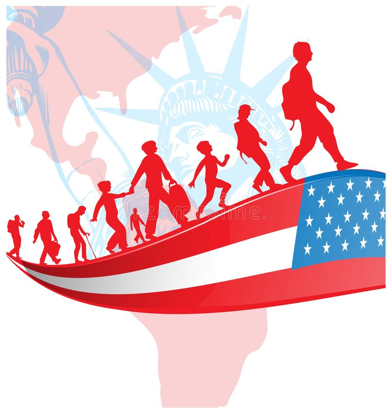 USA flag with immigration people on american map stock illustration
