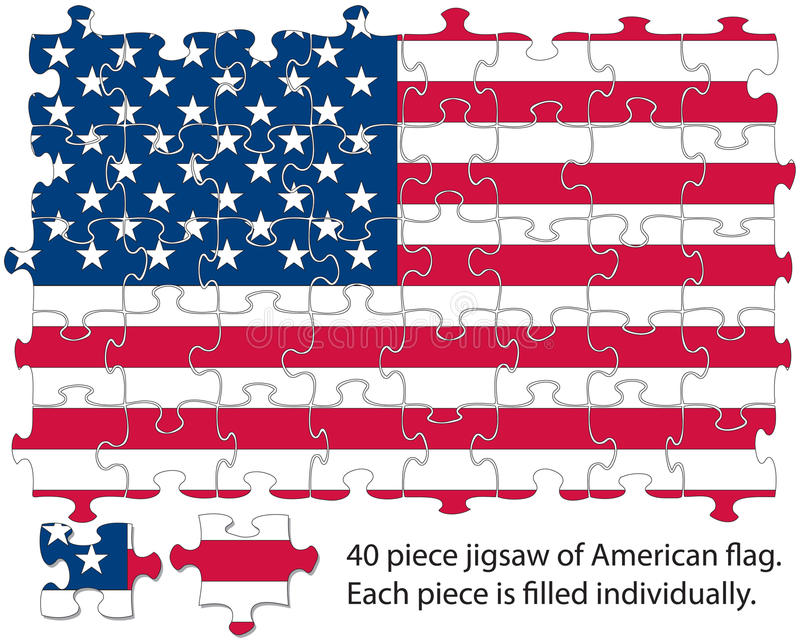 Download USA flag jigsaw stock vector. Image of america, pieces - 23152920