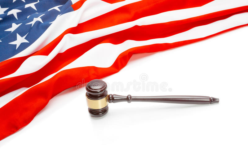 USA flag with judge gavel - close up royalty free stock image