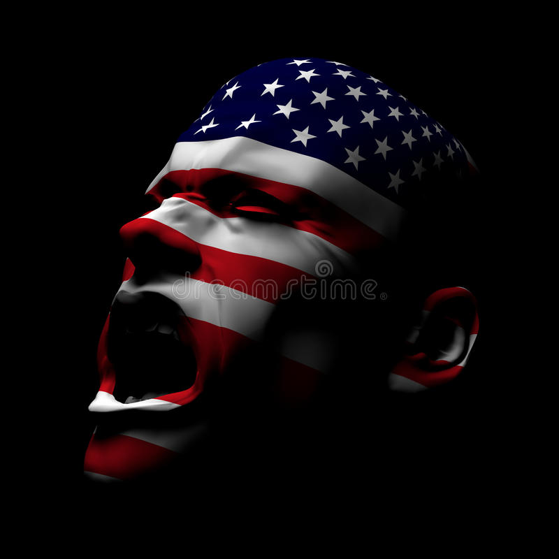 USA Flag Man Yelling royalty free stock photo