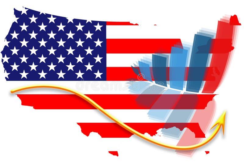 USA flag map and graph chart vector illustration