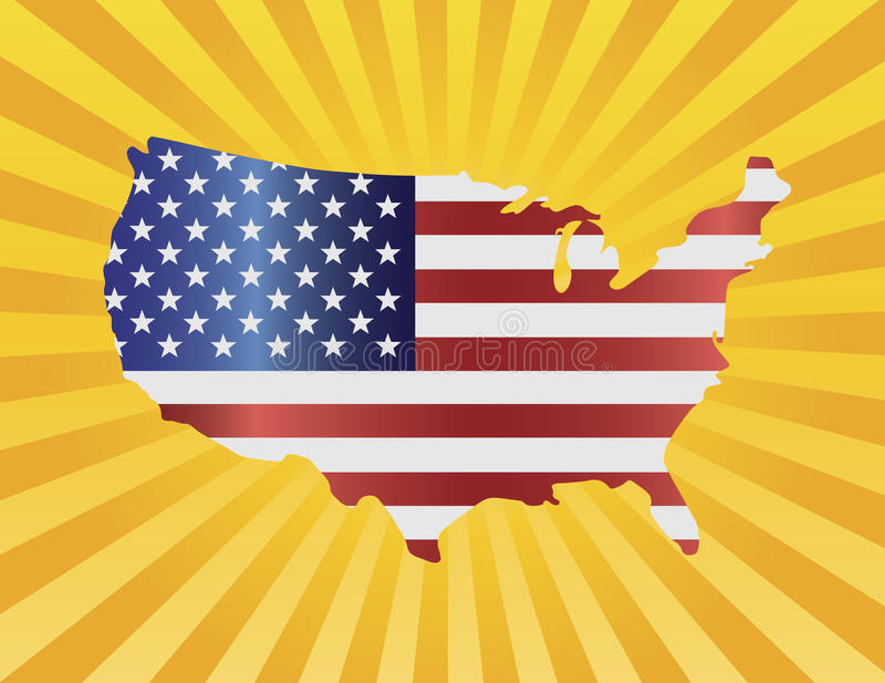 USA Flag in Map Silhouette Illustration royalty free illustration