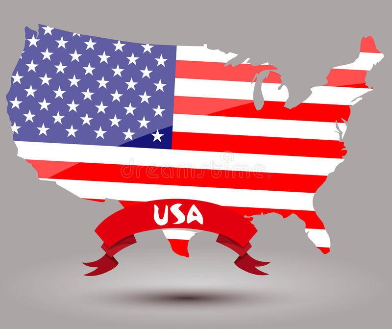 USA flag map vector illustration