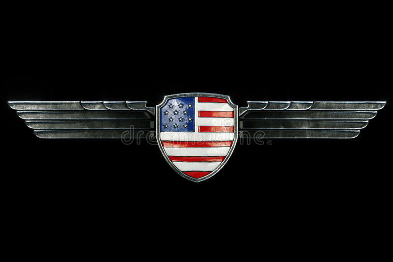 USA flag in metal wings frame isolated on black background. Front view. 3d render vector illustration