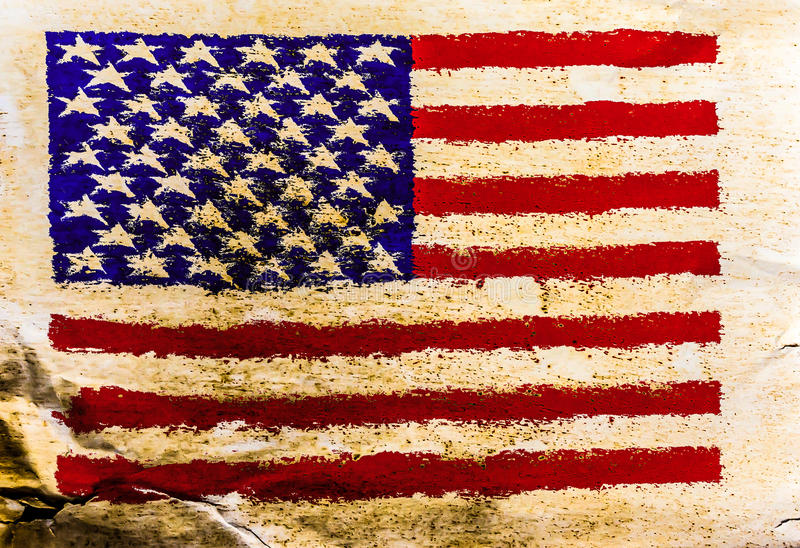 USA flag painted on old brown paper royalty free stock photos