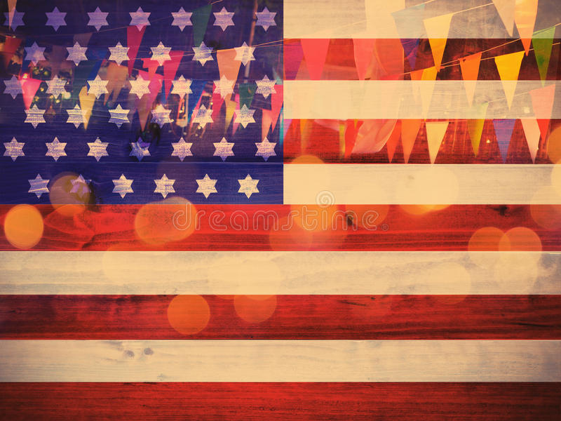 Usa flag pattern on wood nd party decoration background stock image