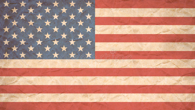 USA flag print on Grunge Poster Paper. royalty free stock photo