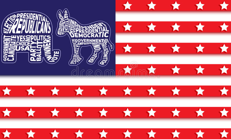USA flag with republican party symbol of elephant and democratic party symbol of donkey vector illustration
