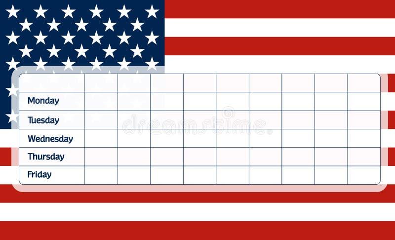 USA flag school timetable royalty free illustration
