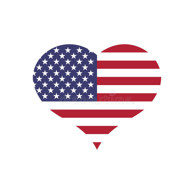 USA flag in a shape of heart. Patriotic national symblol of United States of America. Simple flat vector illustration vector illustration