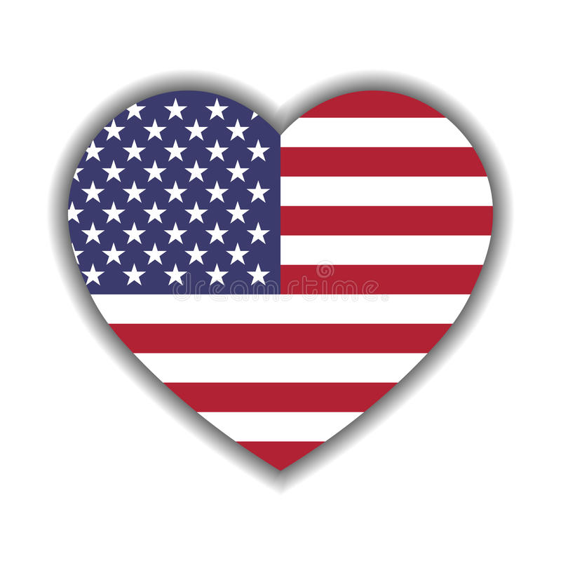 USA flag in a shape of heart. Patriotic national symblol of United States of America. Vector illustration royalty free illustration