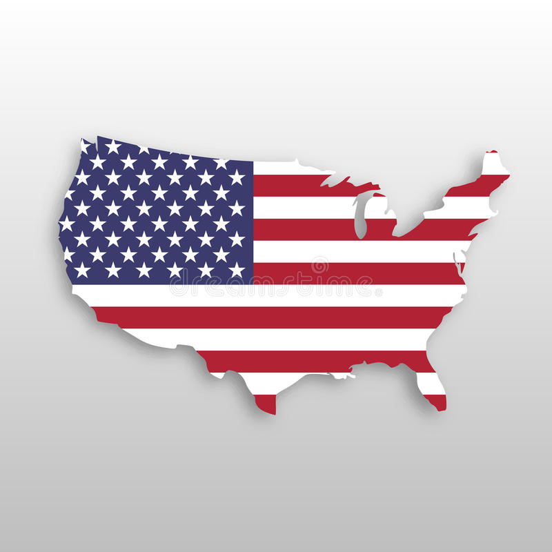 USA flag in a shape of US map silhouette. United States of America symbol. EPS10 vector illustration with dropped shadow royalty free illustration