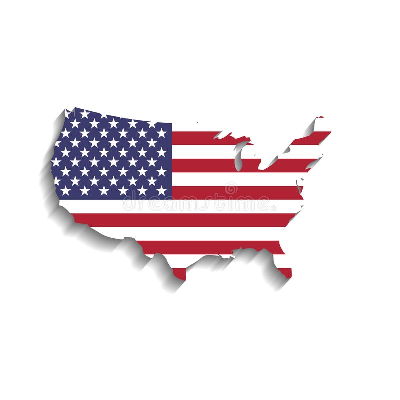 USA flag in a shape of US map silhouette. United States vector illustration