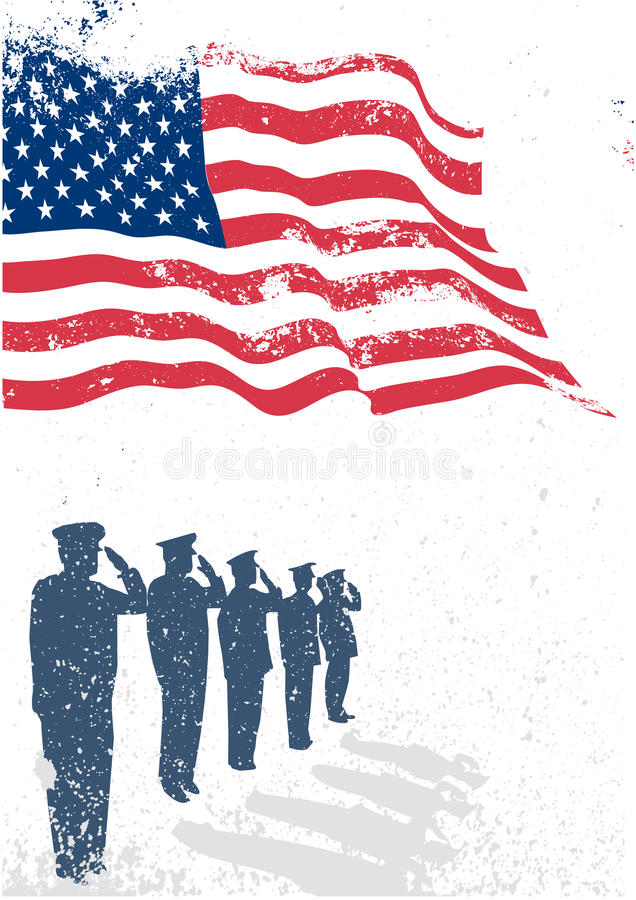 USA flag with soldiers saluting. vector illustration