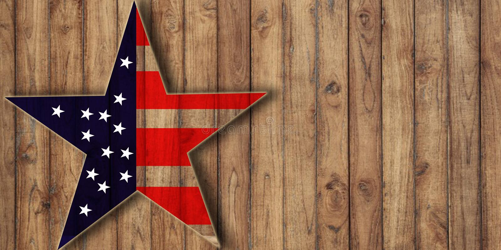 Usa flag in star shape on wood, background with copy space royalty free stock photo