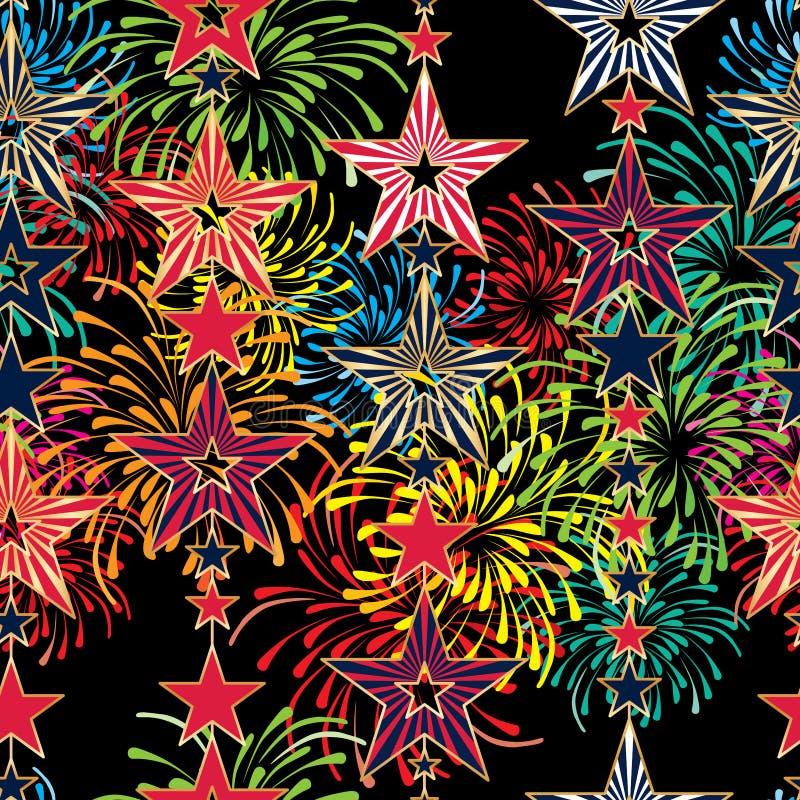 USA flag star vertical line firework horizontal seamless pattern royalty free illustration