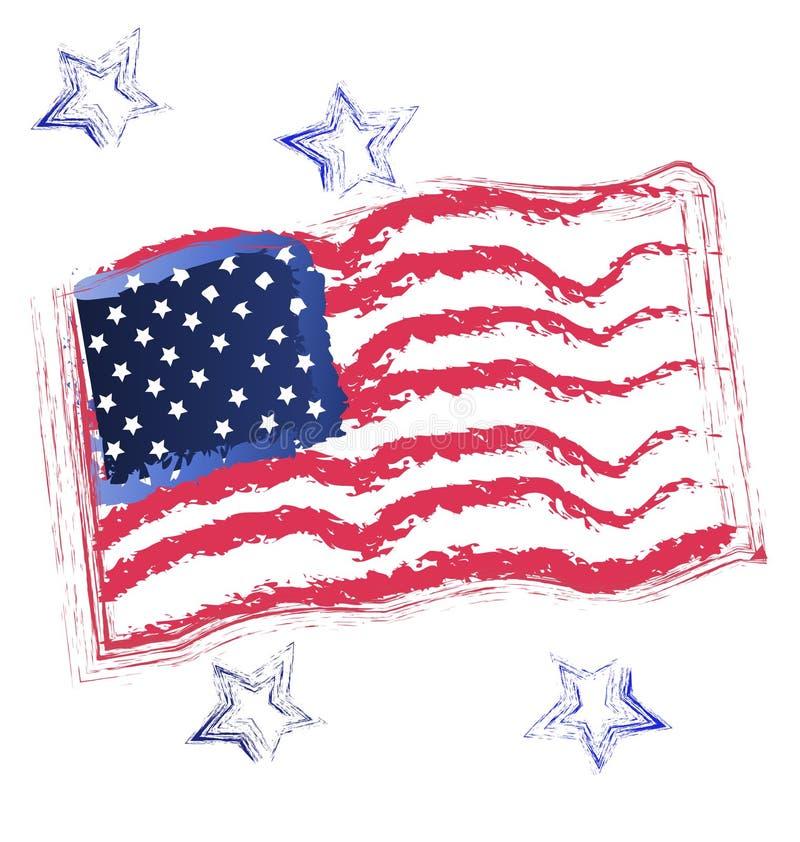 USA flag and stars icon vector illustration