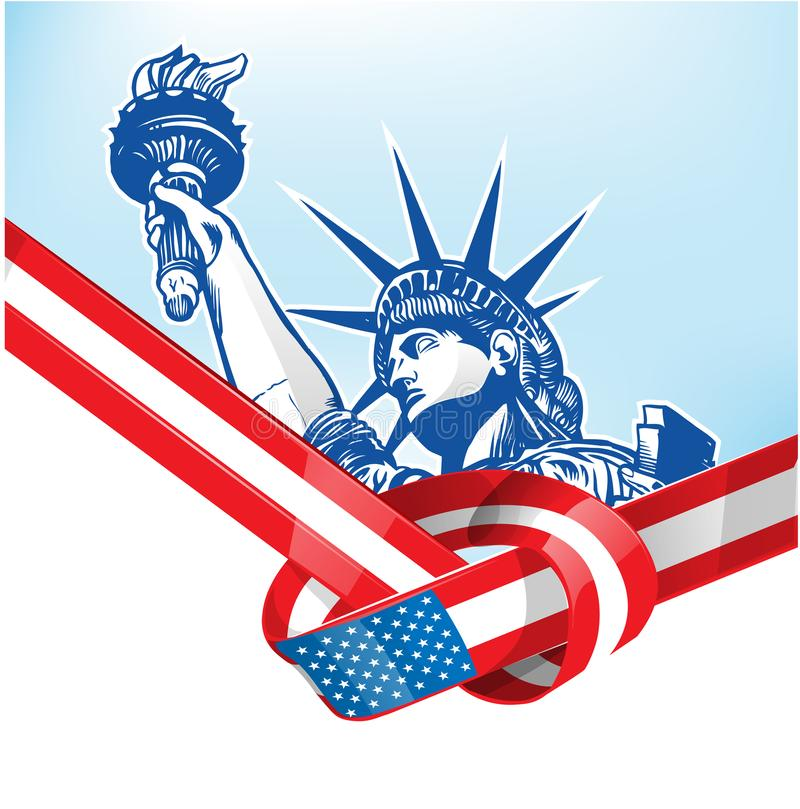 USA flag with statue of liberty vector illustration