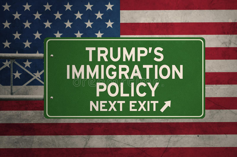 USA flag with Trump`s Policy and a signpost. Picture of Trump`s Immigration Policy word and an arrow symbol on the signpost with USA flag background royalty free illustration