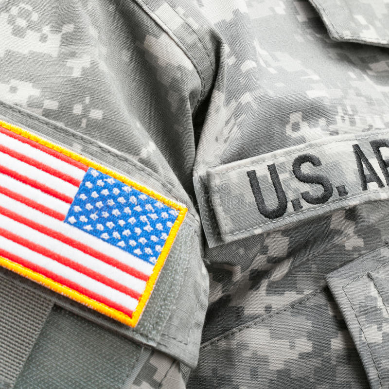 USA flag and U.S. Army patch on military uniform - close up. USA flag and U.S. Army patch on military uniform stock image