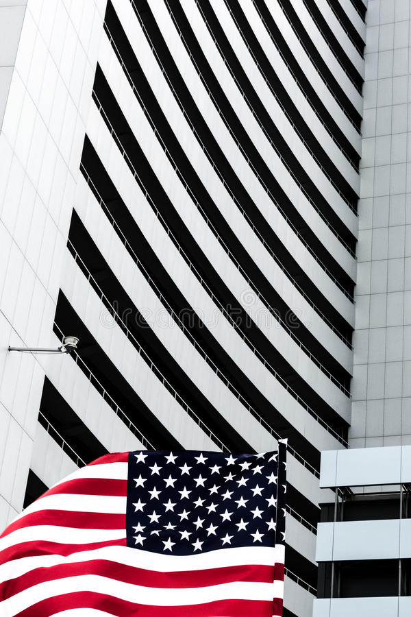 USA Flag in front of the building royalty free stock images