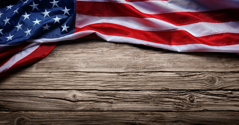 Usa Flag On Vintage Wood royalty free stock photos